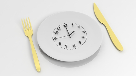 dial plate: Golden fork, knife and plate with clock dial , isolated on white background. Stock Photo