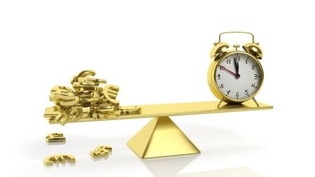 dinero euros: balanza de oro con símbolos de moneda y el reloj de alarma, sobre fondo blanco.
