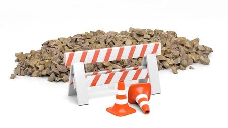 materiales de construccion: cono de la seguridad y la barrera y la pila de piedras, aislado en fondo blanco.
