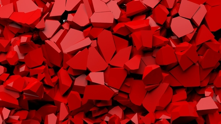 red stone: Red shattered pieces of stone abstract background.