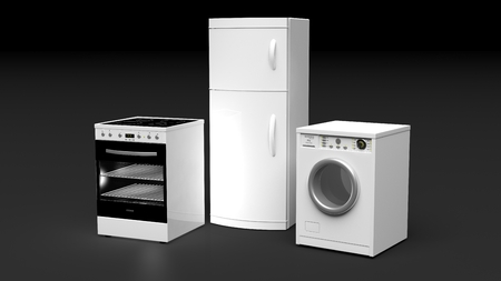black appliances: Group of home appliances isolated on black background