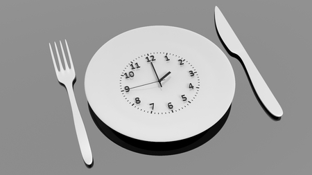 background settings: Fork, knife and plate with clock dial , isolated on black background.