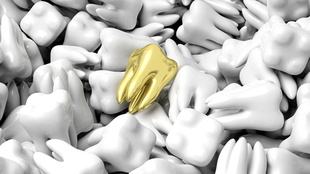 teeth white: Pile of white teeth with one gold, abstract conceptual background Stock Photo
