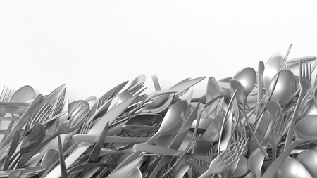 stainless steel background: Stainless steel cutlery, isolated on white background with copy-space.