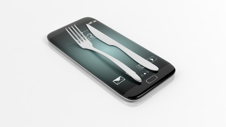 orders: Fork and knife set on smartphone screen, isolated on white background.