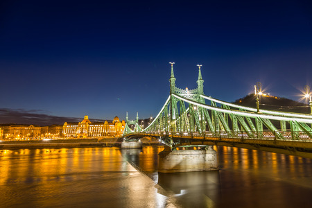 nightshot: Nightshot at chain bridge on Danube river with lights, Budapest city Hungary.