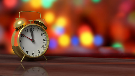 new idea: Retro alarm clock closeup on wooden tabletop with colorful bokeh background.