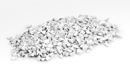 rubble: White shattered pieces of stone pile, isolated on white background. Stock Photo