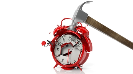 Hammer breaking red alarm clock, isolated on white background