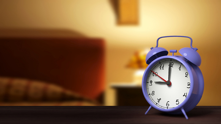 night table: Retro alarm clock closeup, with bedroom in the background. Stock Photo