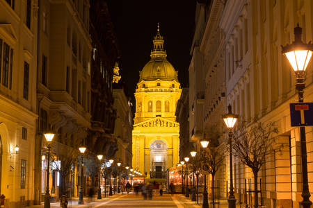 nightshot: Nightshot on Budapest city streets with buildings and lights.