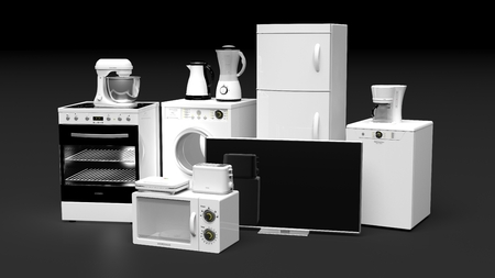 Group of home appliances isolated on black background