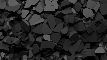 Black shattered pieces of stone abstract background.