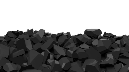 rock wall: Pile of shattered black pieces of stone, isolated on white with copy-space
