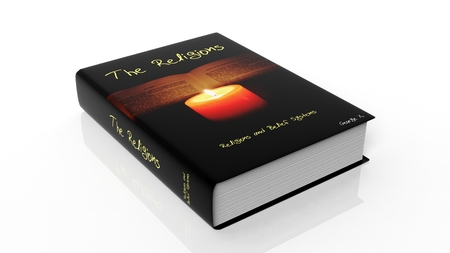 ebook cover: Hardcover book on The Religions with illustration on cover, isolated on white background.