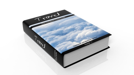 hardcover: Hardcover book on Travel with illustration on cover, isolated on white background.