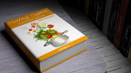 ebook cover: Hardcover book on Healthy Cooking with illustration on cover, on wooden surface. Stock Photo