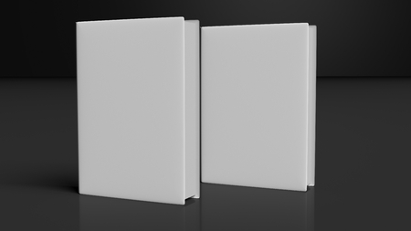 book store: Two books with blank hardcover, isolated on black background.