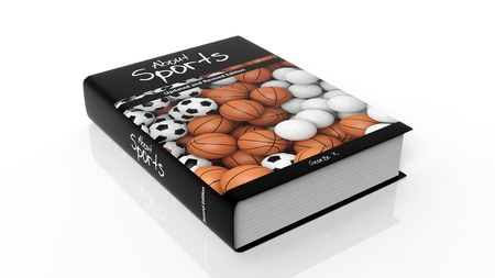 hardcover: Hardcover book About Sports with illustration on cover, isolated on white background. Stock Photo