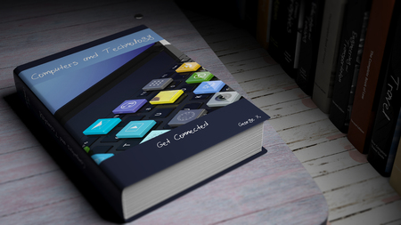 ebook cover: Hardcover book on Computers and Technology with illustration on cover, on wooden surface. Stock Photo