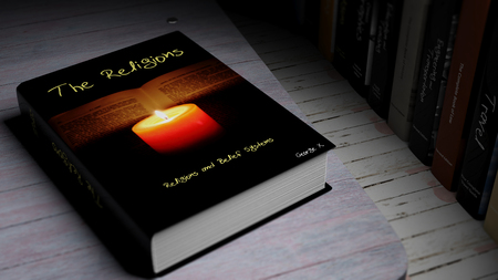 theology: Hardcover book on The Religions with illustration on cover, on wooden surface. Stock Photo