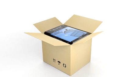 open box: Book on Psychology, with illustrated cover inside an open cardboard box, on white background.