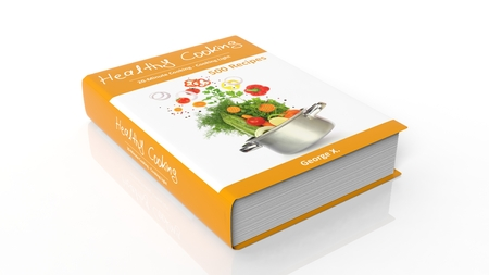 cocina saludable: Hardcover book Healthy Cooking with illustration on cover, isolated on white background. Foto de archivo