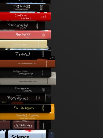 stacks: Stack of books with various subjects, isolated on black background.