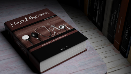 ebook cover: Hardcover book on Healthcare with illustration on cover, on wooden surface.