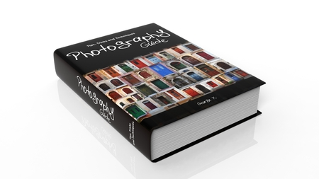 hardcover: Hardcover book on Photography with illustration on cover, isolated on white background.