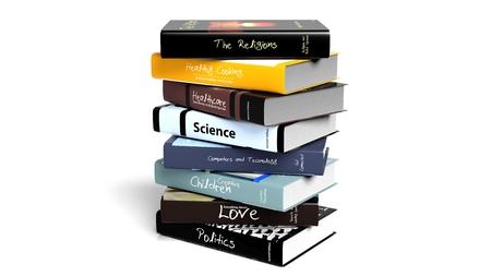 apilar: Pila de libros con diversos temas, aisladas sobre fondo blanco. Foto de archivo
