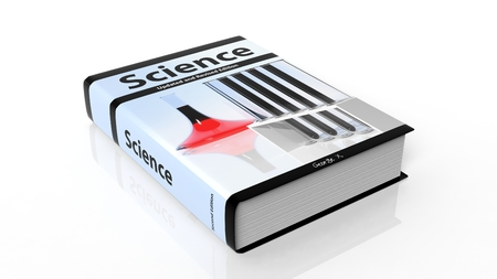 hardcover: Hardcover book Science with illustration on cover, isolated on white background. Stock Photo