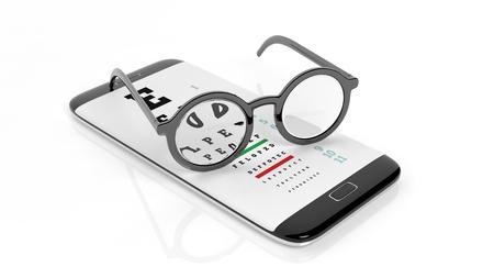 astigmatism: Eyeglasses set on smartphone with eyesight test on screen, isolated on white background.