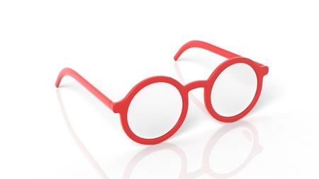 glasses eye: Pair of red round-lens eyeglasses, isolated on white background.