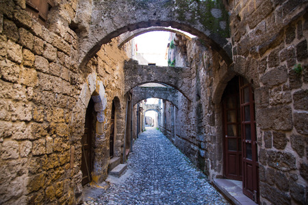 rhodes: Old town streets, Rhodes Greece Stock Photo