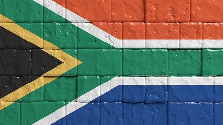 south africa: Brick wall with painted flag of South Africa