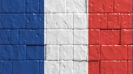 brick texture: Brick wall with painted flag of France Stock Photo