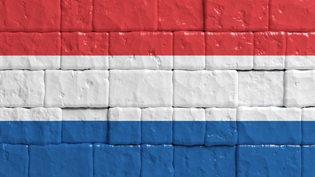 brick texture: Brick wall with painted flag of Netherlands Stock Photo