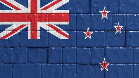 bandera de nueva zelanda: Pared de ladrillo con bandera pintada de Nueva Zelanda Foto de archivo