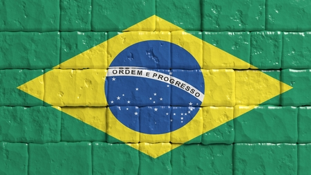 brick texture: Brick wall with painted flag of Brazil