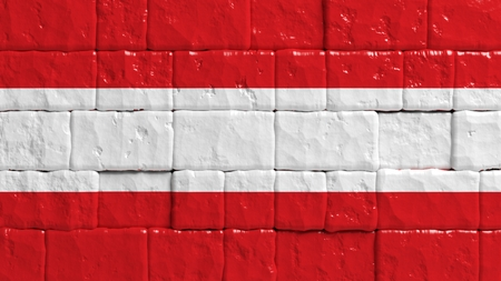 brick texture: Brick wall with painted flag of Austria