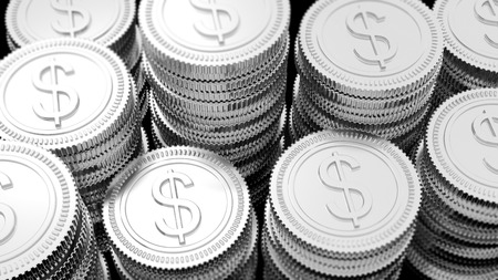 dollar symbol: Stacks of silver coins with Dollar symbol background. Stock Photo