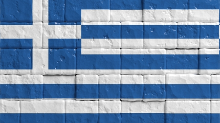 brick texture: Brick wall with painted flag of Greece