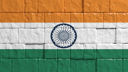 india 3d: Brick wall with painted flag of India