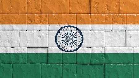 bandera de la india: Pared de ladrillo con bandera pintada de la India