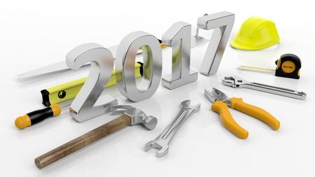 Diversas herramientas de mano con 3D 2017 de texto, aisladas sobre fondo blanco.