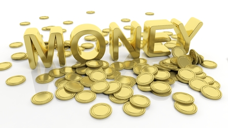 tresure: Pile of golden coins and word Money, isolated on white background. Stock Photo