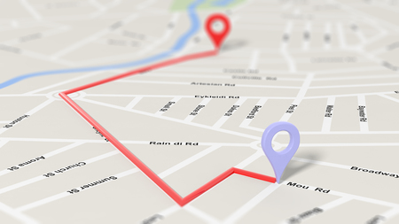 route map: Map closeup with two pointers set on route, with depth of field