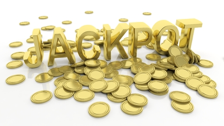 Pile of golden coins and word Jackpot, isolated on white background.
