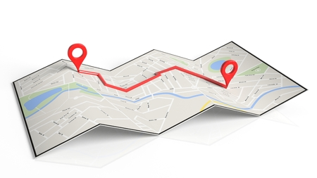 two roads: Folded paper map with two red pointers set on route, isolated on white background. Stock Photo